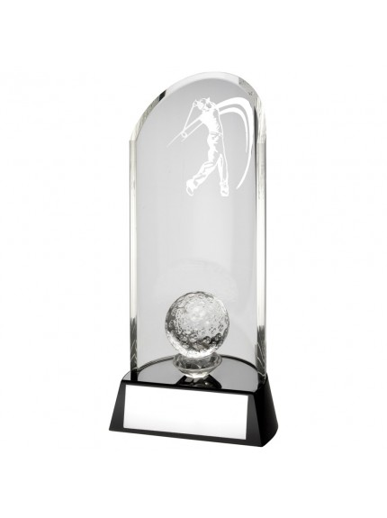 Clear Glass Golf Lasered Curve Column With Ball On Black Base Trophy