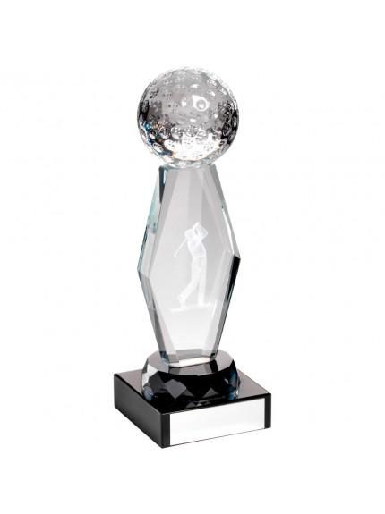 18.5cm Clear Glass Lasered Golf Column On Black Base Trophy