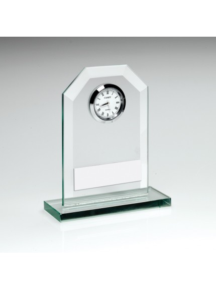 Jade Glass Clock Trophy