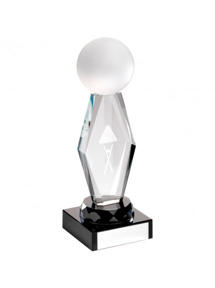Clear Glass Lasered Pool And Snooker Column On Black Base Trophy