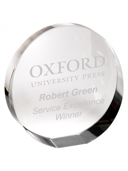 Clear Glass Round Paperweight (Standing Or Flat) With Presentation Case