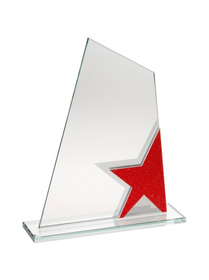 Jade Glass Plaque With Red/Silver Star Detail