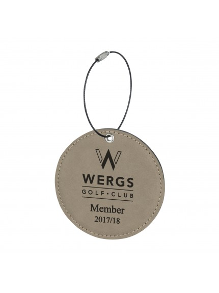 Leatherette Round Brown Bag Tag