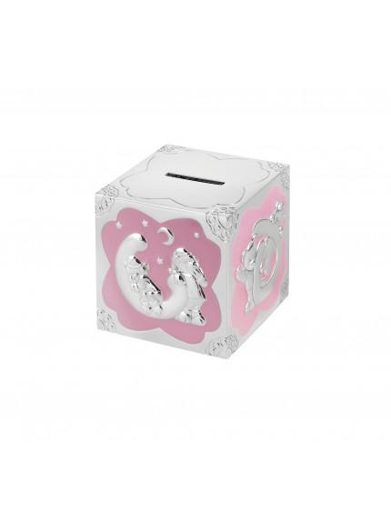 7cm Pink Enml Teddy Cube Money Box