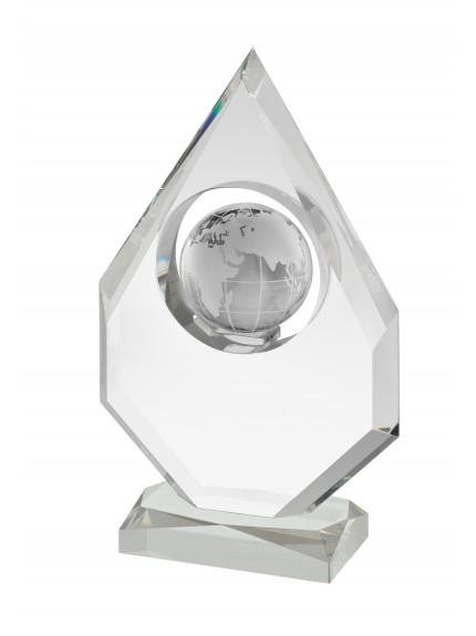 23.75cm Crystal Globe Award in Box