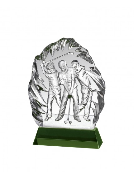 Clear and Green Crystal Golf Award in Box
