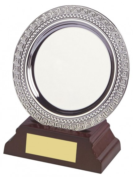 Silver Salver Award On Wood Stand