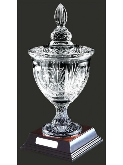 42cm Crystal Bowl Award With Wood Base and Lid
