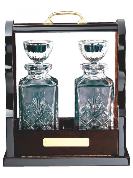 Two Crystal Decanters In Wooden Tantalus