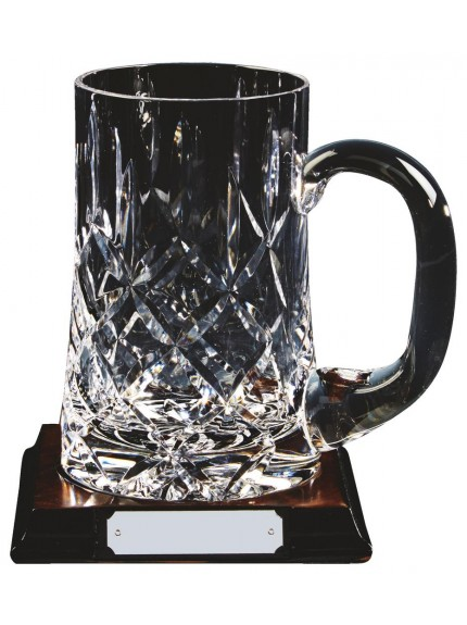 Patterned 1 Pint Crystal Tankard On Wood Stand