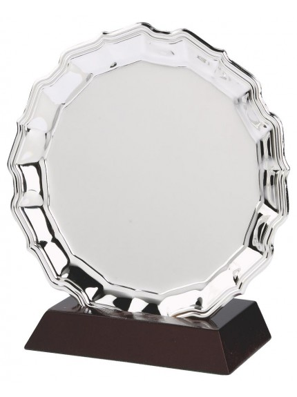Heavy Nickel Plated Salver Award On Wood Stand