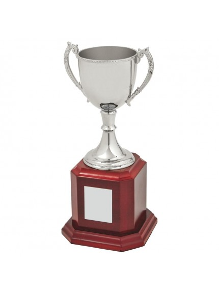 Nickel Plated Trophy Cup on Wood Base - 6 Sizes