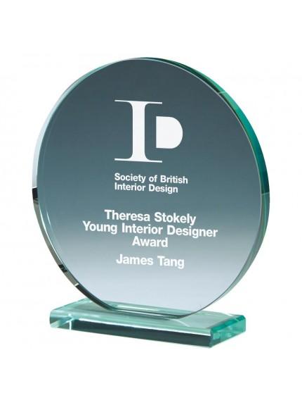 Round Jade Glass Upright Award - 3 Sizes