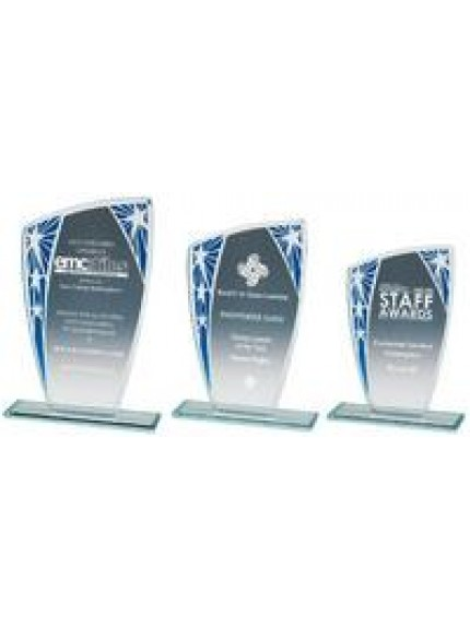 Silver/Red Budget Glass Award - 3 Sizes