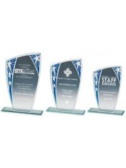 Silver/Blue Star Budget Glass Award - 3 Sizes